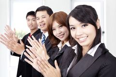 Business people applauding. And welcome new partner Royalty Free Stock Photos