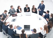 Business people applauding speaker at a business meeting. The concept of partnership Stock Photography