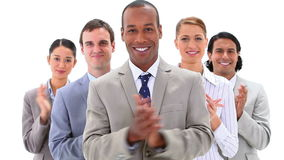 Business people applauding while standing Stock Footage