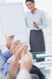 Business people applausing their cheerful colleague for her pres Stock Images