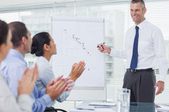 Business people applausing their cheerful colleague for his pres Royalty Free Stock Photos