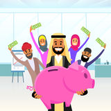 Business People Arab Team Hold Piggy Bank  Royalty Free Stock Images