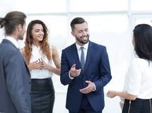 Business people argue standing in office Royalty Free Stock Photos