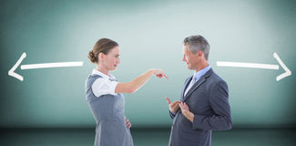 Composite image of business people in an argument. Business people in an argument against grey room Stock Image