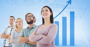 Business people with arms crossed against graph. Digital composite of Business people with arms crossed against graph Royalty Free Stock Image