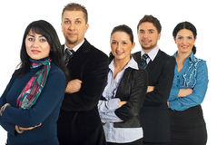 Business people with arms folded in a row Royalty Free Stock Photography
