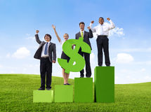 Business People Arms Raised with Dollar Sign Royalty Free Stock Photography