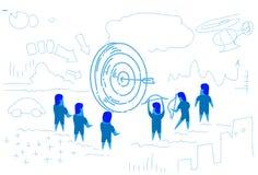 Business people around arrow hitting target center of dartboard success concept business men brainstorming sketch doodle. Vector illustration vector illustration