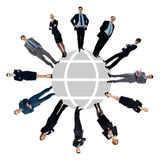 Business people around the world map Royalty Free Stock Images