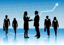 Business people with arrow graph up. Vector illustration of business presentation background for slides with group of business people with in front of a business royalty free illustration