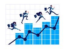 Business people on arrow staircase, Businessman walks on graphs to success. stock illustration