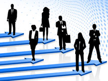 Business people and arrows Stock Images