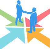 Business people arrows meet deal agreement Royalty Free Stock Photo
