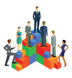 Business people ascending on blocks. An illustration of business people ascending on a set of rising blocks. Career and advancement concept Royalty Free Stock Image