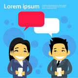 Business People Asian Couple Man and Woman Cartoon Royalty Free Stock Images