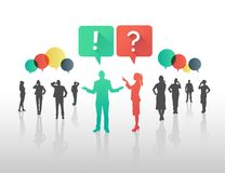 Business people asking and answering questions in speech bubbles Stock Image