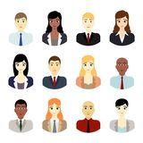 Business people avatars. Vector set of young business people team avatar icons  on white background. Editable eps file available Royalty Free Stock Photo