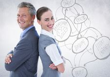 Business people back to back against white wall with concept doodle. Digital composite of Business people back to back against white wall with concept doodle Stock Photo