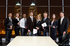 Business people on the background of skyscrapers. royalty free stock photo