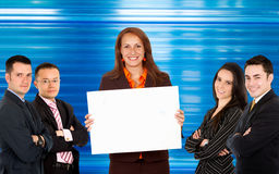 Business people with banner ad Stock Photography