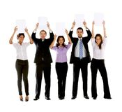 Business people with banners Royalty Free Stock Photos