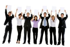 Business people with banners Royalty Free Stock Image