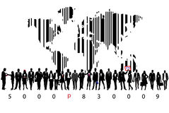 Business people and bar code Stock Photo