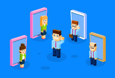 Business People Big Cell Smart Phone Social Network Communication. Group 3d Isometric Design Vector Illustration Stock Photos