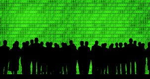 Business people on binary code background Stock Image