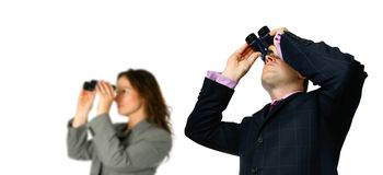Business people with binocular Stock Photography