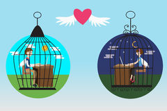 Business people in the bird cages fall in love. Business people working in the bird cages fall in love vector illustration