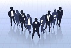 Business People Black Silhouette Team Businesspeople Group Human Resources Stock Image