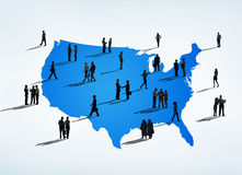 Business People with Blue Cartography of USA Stock Images