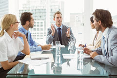 Business people in board room meeting. Portrait of young business people in board room meeting at office Royalty Free Stock Photography