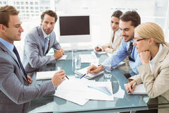 Business people in board room meeting. Young business people in board room meeting at the office Royalty Free Stock Photography