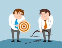 Business people with bow arrow and target Stock Photography