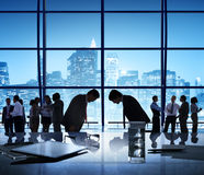 Business People Bowing Discussion Communication Cityscape Meetin Stock Images