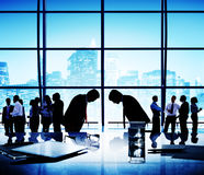 Business People Bowing Discussion Communication Cityscape Meetin Royalty Free Stock Photos