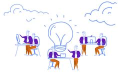 Business people brainstorming process generating new idea light lamp innovation concept teamwork inspiration startup. Project horizontal sketch doodle vector royalty free illustration