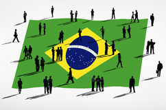 Business People with Brazilian Flag Royalty Free Stock Image