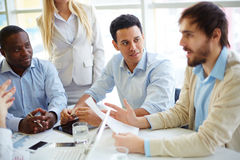 Business people at briefing royalty free stock photo
