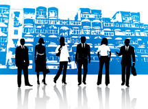 Business people and buildings vector illustration