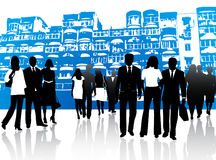 Business people and buildings. Illustration of business people and buildings Royalty Free Stock Photography