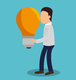 Business people with bulb light training icon. Illustration design Royalty Free Stock Photo