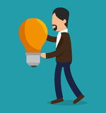 Business people with bulb light training icon. Illustration design Stock Photography