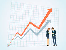 Business People on business graph background. People at work on location Stock Images