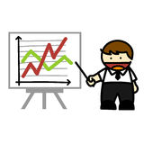 Business people and  business graph cartoon. Royalty Free Stock Image