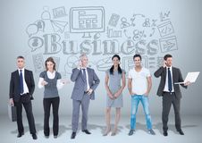 Business people with business graphics drawings vector illustration