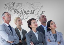 Business people with Business graphics drawings Stock Image
