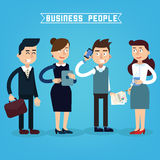 Business People. Businessman and Businesswoman. Woman with Tablet Stock Photography